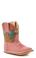 Roper Infant Pink Cactus Round Toe Boot