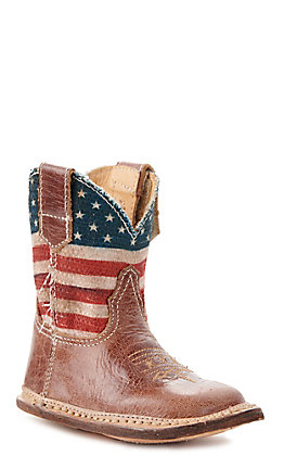 Roper Infant Cowbaby American Flag Square Toe Boot
