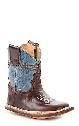 Roper Infant Cowbaby Bull Rider Brown With Blue Top Square Toe Boots