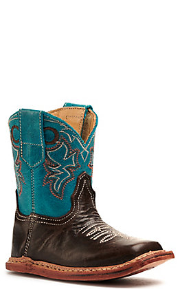 Roper Infant Cowbaby Dark Brown and Turquoise Square Toe Boot