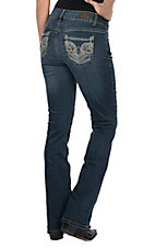 Wired Heart Women's Thick Tan Stitch Open Pocket Stetch Boot Cut Jeans