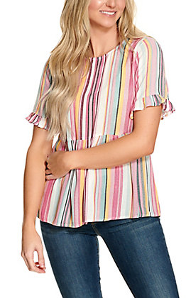 Savanna Jane Women's Pink and Turquoise Multi Stripe Babydoll Short Sleeve Fashion Top