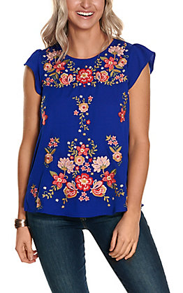 Savanna Jane Women's Royal Blue with Floral Embroidery Flutter Short Sleeves Fashion Top