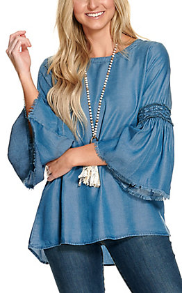 Magnolia Lane Women's Denim with Lattice Accents Long Bell Sleeves Fashion Top