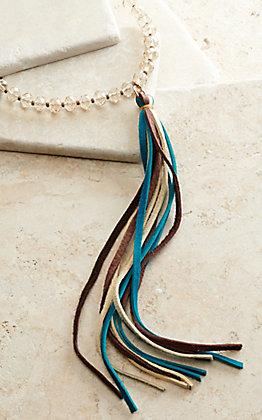 J.Forks Designs Cream Deerskin with Light Golden Crystal Beads and Multi-Color Leather Tassel Necklace