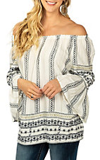 Anne French Women's White and Navy Boho Bell Sleeve Fashion Shirt