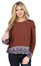 Double Zero Women's Rust & Maroon Mixed Print with Lace Trim Long Sleeve Fashion Top