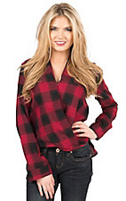 Double Zero Women's Red & Black Plaid Cross Front Long Sleeve Blouse