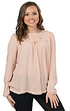 Peachpuff Women's Peach with Lace Long Sleeve Fashion Top