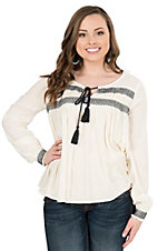 HYFVE by Double Zero Women's Ivory with Navy Embroidery Long Sleeve Fashion Top