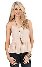 HYFVE by Double Zero Blush Lace with Ruffled Bottom Hem Spaghetti Strap Fashion Top