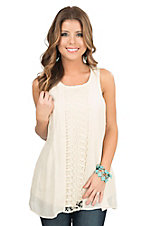HYFVE by Double Zero Cream with Crochet Detailing Sleeveless Fashion Tank Top