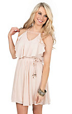 HYFVE by Double Zero Blush with Ruffled Top and Cinched Waist Spaghetti Strap Dress