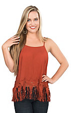 HYFVE by Double Zero Rust with Fringe Bottom Sleeveless Fashion Tank Top