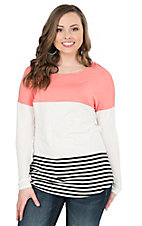 HYFVE Women's Coral with White and Black Stripes Long Sleeve Casual Knit Top