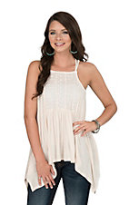 Onetheland Women's Cream Sleeveless with Lace Detail Top