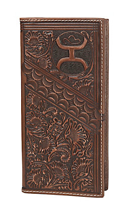 HOOey Brown Distress Floral Tooling Overlay Logo Rodeo Wallet / Check Book