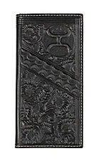 HOOey Black Distress Floral Tooling Overlay Logo Rodeo Wallet / Check Book