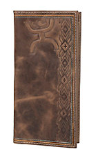 HOOey Brown Aztec Embossed Logo Rodeo Wallet / Check Book