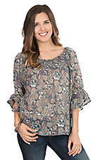 Anne French Women's Blue Paisley Print 3/4 Bell Sleeve Fashion Top