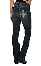 Wired Heart Women's Dark Wash Crystal Studded Cross Flap Pocket Boot Cut Jeans