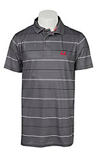 Cinch Tech Men's Grey Stripe Arena Flex Polo