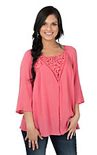 Anne French Women's Coral Crochet Yoke 3/4 Sleeve Fashion Top