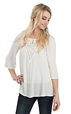 Anne French Women's Ivory Crochet Yoke 3/4 Sleeve Fashion Top
