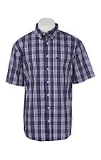 Cinch Men's Arena Flex Purple Plaid Short Sleeve Western Shirt