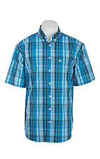 Cinch Men's Arena Flex Blue Plaid Short Sleeve Western Shirt
