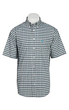 Cinch Men's Arena Flex White and Light Blue Plaid Short Sleeve Western Shirt
