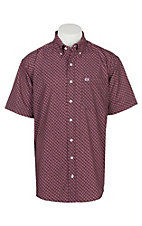 Cinch Men's Burgundy Geo Print Arena Flex Woven Western Shirt