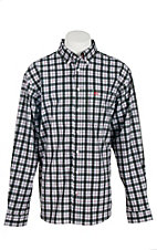 Cinch Men's Arena Flex Black, White, and Red Plaid L/S Shirt