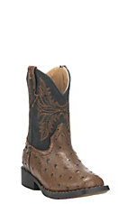 Roper Toddler Black with Brown Ostrich Print Square Toe Western Boots