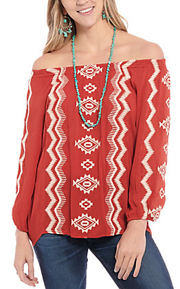 Rockin' C Women's Rust Aztec Embroidered Off the Shoulder Fashion Top