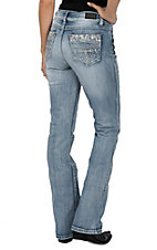 Wired Heart Women's Light Wash Floral Lace Open Pocket Boot Cut Jeans
