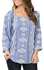 Anne French Women's Blue Aztec Embroidery Peasant Fashion Shirt