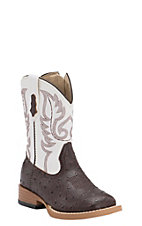 Roper Toddler Chocolate Ostrich Print w/ White Top Square Toe Western Boots