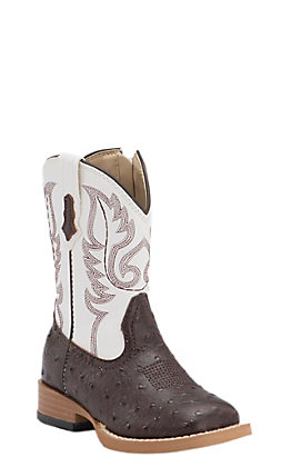 Roper Toddler Chocolate Ostrich Print with White Top Square Toe Western Boots