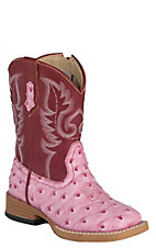 Roper Toddler Pink Ostrich Print w/Dark Pink Top Square Toe Western Boots