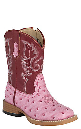 Roper Toddler Pink Ostrich Print with Dark Pink Top Square Toe Western Boots