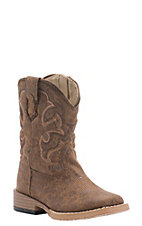 Roper Toddler Distressed Brown Square Toe Western Boots