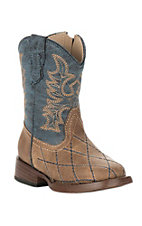 Roper Toddler Tan and Blue Square Toe Western Boots