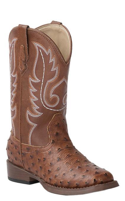 9d67ec52f4d Roper Toddler Brown Ostrich Print Square Toe Western Boots