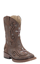 Roper Toddler Brown with Crystal Cross & Studs Square Toe Western Boots