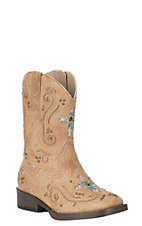 Roper Toddler Tan Faux Leather with Western Stitching and Sequin Cross Square Toe Boots
