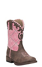 Roper Toddler Pink with Brown Square Toe Western Boots