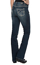 Wired Heart Women's Tan Stitch Open Pocket Boot Cut Jeans