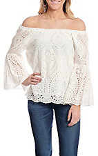 Anne French Women's White Solid Eyelet Off the Shoulder Long Bell Sleeve Fashion Top