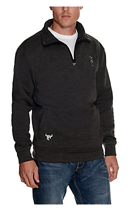 Cowboy Hardware Men's Charcoal with Flag Skull Embroidery Quarter Zip Knit Pullover Jacket